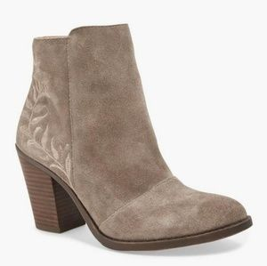 Lucky Brand Gray Suede Embroidered Eleanor Boots